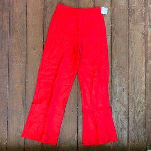 Zara red linen high waist pants